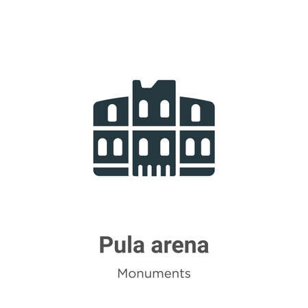 Pula arena glyph icon vector on white background. Flat vector pula arena icon symbol sign from modern monuments collection for mobile concept and web apps design.  イラスト・ベクター素材