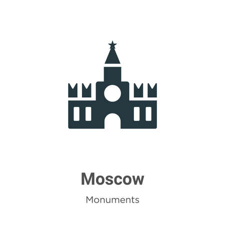 Moscow glyph icon vector on white background. Flat vector moscow icon symbol sign from modern monuments collection for mobile concept and web apps design. Иллюстрация