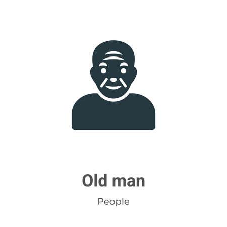Old man glyph icon vector on white background. Flat vector old man icon symbol sign from modern people collection for mobile concept and web apps design.