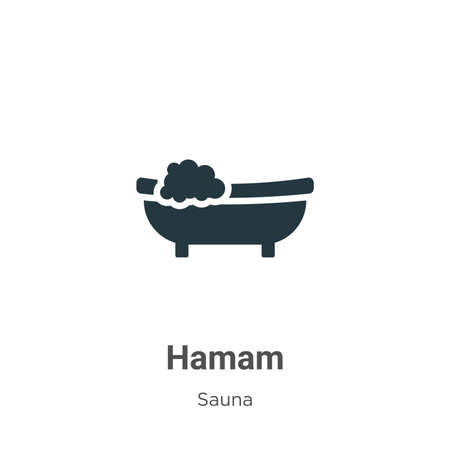 Hamam glyph icon vector on white background. Flat vector hamam icon symbol sign from modern sauna collection for mobile concept and web apps design. Vecteurs