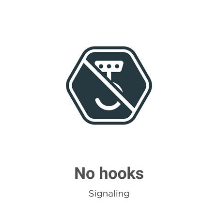 No hooks glyph icon vector on white background. Flat vector no hooks icon symbol sign from modern signaling collection for mobile concept and web apps design.