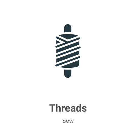 Threads glyph icon vector on white background. Flat vector threads icon symbol sign from modern sew collection for mobile concept and web apps design.