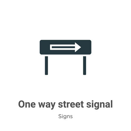 One way street signal glyph icon vector on white background. Flat vector one way street signal icon symbol sign from modern signs collection for mobile concept and web apps design.