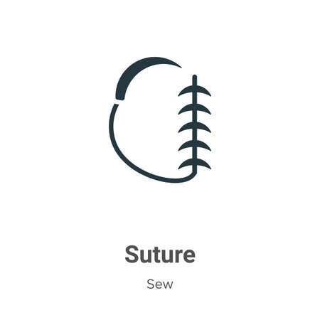 Suture glyph icon vector on white background. Flat vector suture icon symbol sign from modern sew collection for mobile concept and web apps design.