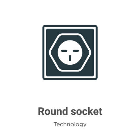 Round socket glyph icon vector on white background. Flat vector round socket icon symbol sign from modern technology collection for mobile concept and web apps design.