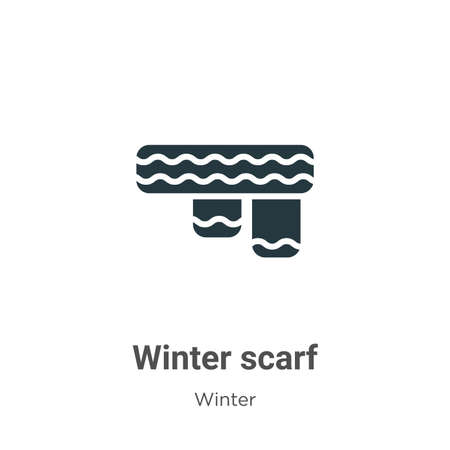 Winter scarf glyph icon vector on white background. Flat vector winter scarf icon symbol sign from modern winter collection for mobile concept and web apps design.