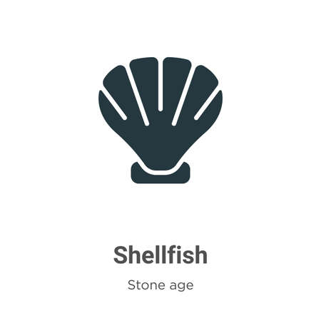 Shellfish glyph icon vector on white background. Flat vector shellfish icon symbol sign from modern stone age collection for mobile concept and web apps design.