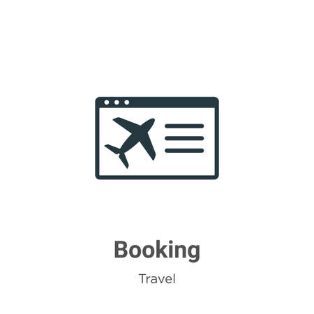 Booking glyph icon vector on white background. Flat vector booking icon symbol sign from modern travel collection for mobile concept and web apps design. 向量圖像
