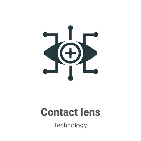 Contact lens glyph icon vector on white background. Flat vector contact lens icon symbol sign from modern technology collection for mobile concept and web apps design.