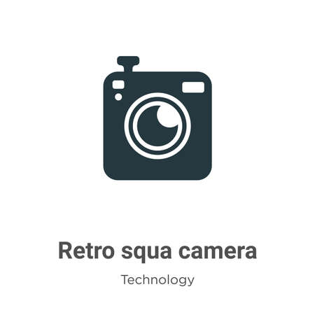 Retro squared camera glyph icon vector on white background. Flat vector retro squared camera icon symbol sign from modern technology collection for mobile concept and web apps design.