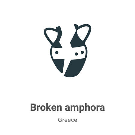 Broken amphora glyph icon vector on white background. Flat vector broken amphora icon symbol sign from modern greece collection for mobile concept and web apps design.