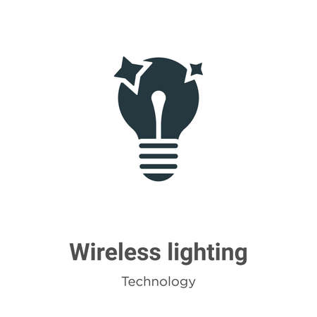 Wireless lighting glyph icon vector on white background. Flat vector wireless lighting icon symbol sign from modern technology collection for mobile concept and web apps design.