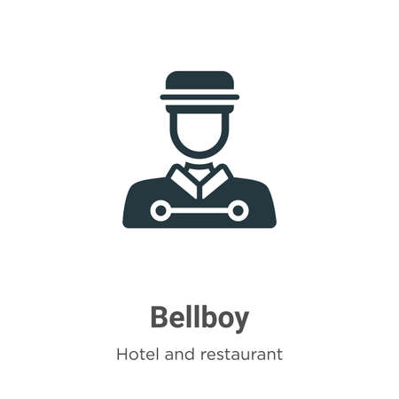 Bellboy glyph icon vector on white background. Flat vector bellboy icon symbol sign from modern hotel collection for mobile concept and web apps design.