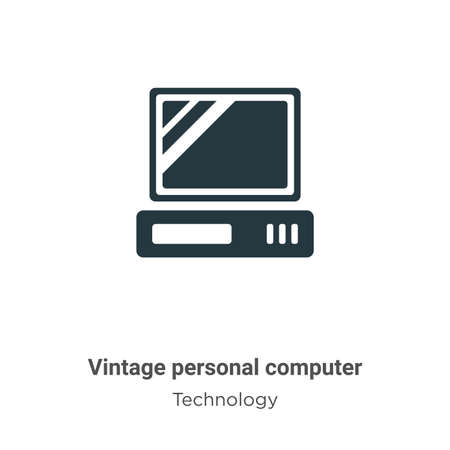 Vintage personal computer glyph icon vector on white background. Flat vector vintage personal computer icon symbol sign from modern technology collection for mobile concept and web apps design.