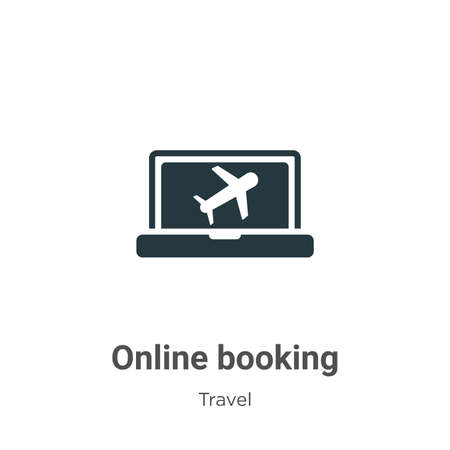 Online booking glyph icon vector on white background. Flat vector online booking icon symbol sign from modern travel collection for mobile concept and web apps design.