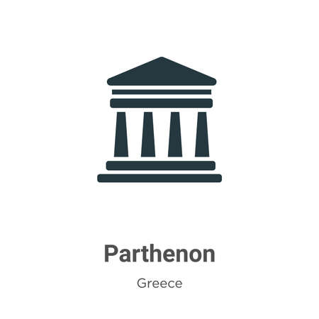 Parthenon glyph icon vector on white background. Flat vector parthenon icon symbol sign from modern greece collection for mobile concept and web apps design. 矢量图像