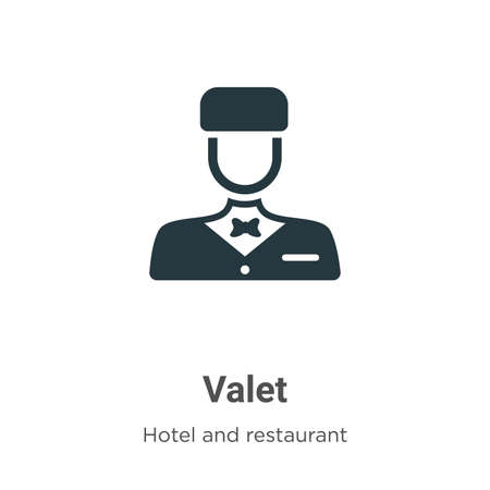 Valet glyph icon vector on white background. Flat vector valet icon symbol sign from modern hotel and restaurant collection for mobile concept and web apps design.