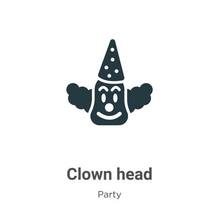 Clown head glyph icon vector on white background. Flat vector clown head icon symbol sign from modern party collection for mobile concept and web apps design.