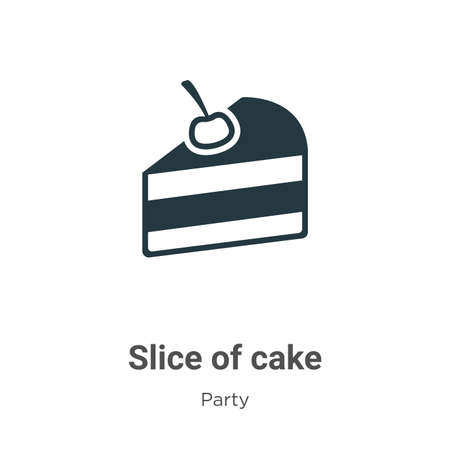Slice of cake glyph icon vector on white background. Flat vector slice of cake icon symbol sign from modern party collection for mobile concept and web apps design.