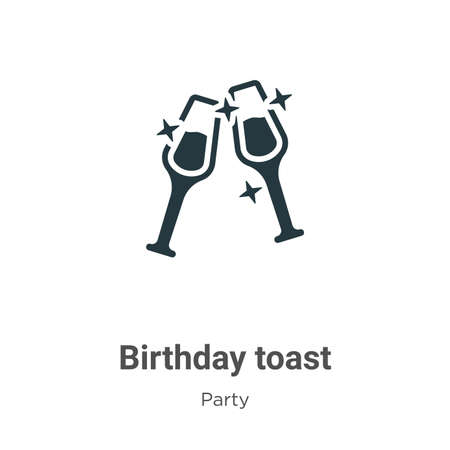 Birthday toast glyph icon vector on white background. Flat vector birthday toast icon symbol sign from modern party collection for mobile concept and web apps design.