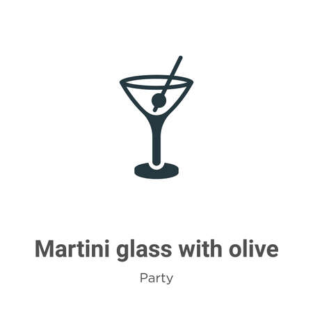 Martini glass with olive glyph icon vector on white background. Flat vector martini glass with olive icon symbol sign from modern party collection for mobile concept and web apps design.