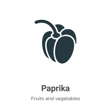 Paprika glyph icon vector on white background. Flat vector paprika icon symbol sign from modern fruits and vegetables collection for mobile concept and web apps design. Çizim