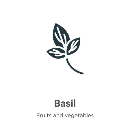 Basil glyph icon vector on white background. Flat vector basil icon symbol sign from modern fruits and vegetables collection for mobile concept and web apps design. Çizim