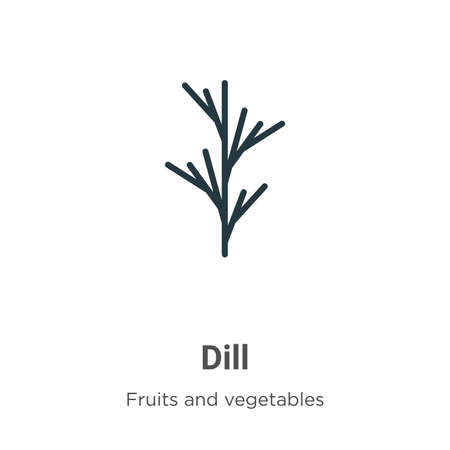 Dill glyph icon vector on white background. Flat vector dill icon symbol sign from modern fruits and vegetables collection for mobile concept and web apps design.