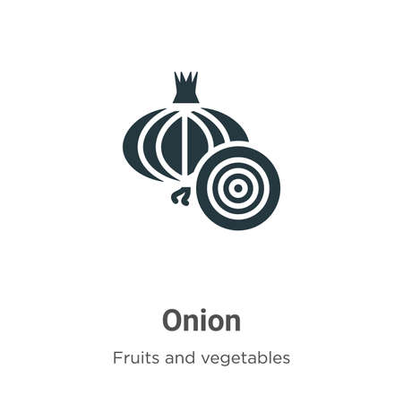 Onion glyph icon vector on white background. Flat vector onion icon symbol sign from modern fruits collection for mobile concept and web apps design. Çizim