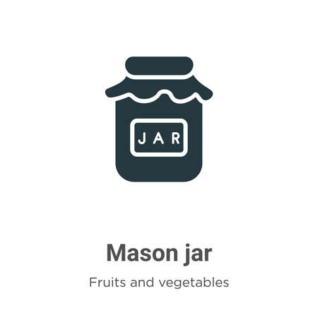 Mason jar glyph icon vector on white background. Flat vector mason jar icon symbol sign from modern fruits and vegetables collection for mobile concept and web apps design.