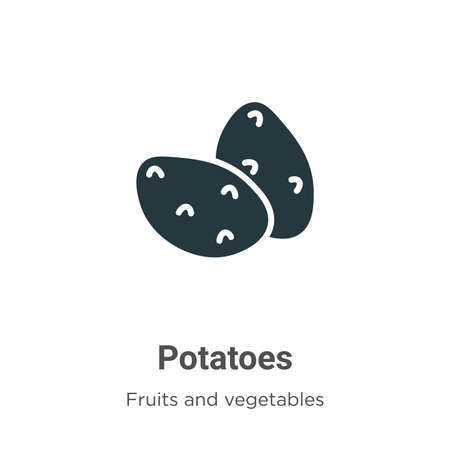 Potatoes glyph icon vector on white background. Flat vector potatoes icon symbol sign from modern fruits collection for mobile concept and web apps design. 向量圖像