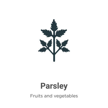Parsley glyph icon vector on white background. Flat vector parsley icon symbol sign from modern fruits collection for mobile concept and web apps design.