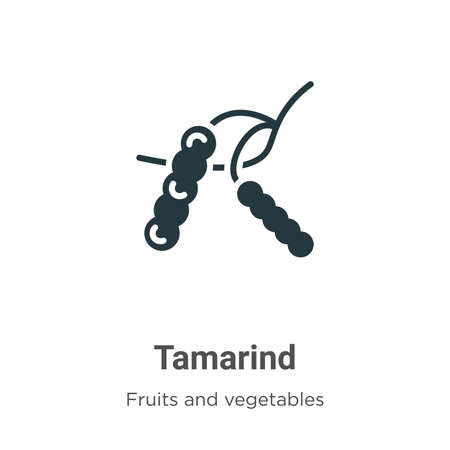 Tamarind glyph icon vector on white background. Flat vector tamarind icon symbol sign from modern fruits collection for mobile concept and web apps design.