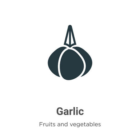 Garlic glyph icon vector on white background. Flat vector garlic icon symbol sign from modern fruits collection for mobile concept and web apps design. Çizim