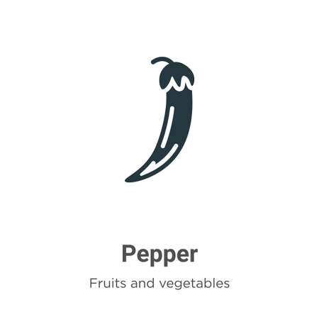 Pepper glyph icon vector on white background. Flat vector pepper icon symbol sign from modern fruits collection for mobile concept and web apps design. Çizim