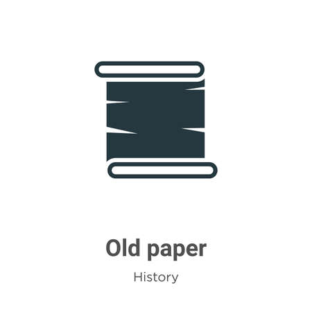 Old paper glyph icon vector on white background. Flat vector old paper icon symbol sign from modern history collection for mobile concept and web apps design.
