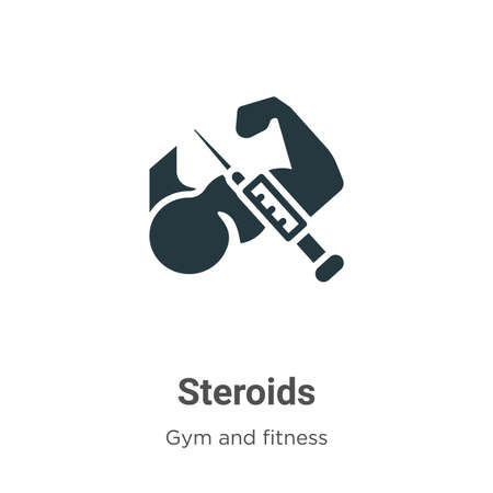 Steroids glyph icon vector on white background. Flat vector steroids icon symbol sign from modern gym and fitness collection for mobile concept and web apps design. 矢量图像