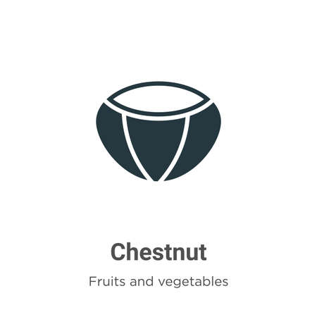 Chestnut glyph icon vector on white background. Flat vector chestnut icon symbol sign from modern fruits collection for mobile concept and web apps design.