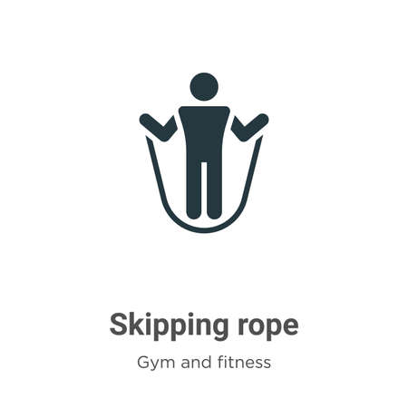 Skipping rope glyph icon vector on white background. Flat vector skipping rope icon symbol sign from modern gym and fitness collection for mobile concept and web apps design.