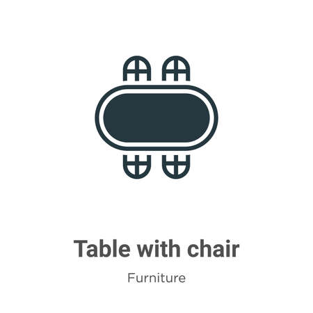 Table with chair glyph icon vector on white background. Flat vector table with chair icon symbol sign from modern furniture collection for mobile concept and web apps design.