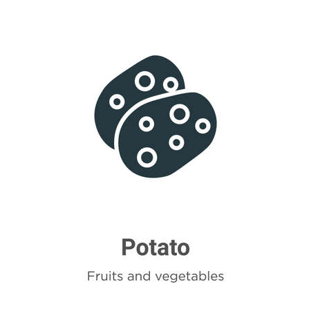 Potato glyph icon vector on white background. Flat vector potato icon symbol sign from modern fruits collection for mobile concept and web apps design. 向量圖像