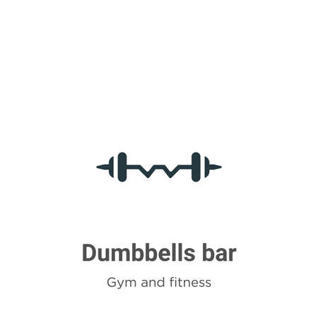 Dumbbells bar glyph icon vector on white background. Flat vector dumbbells bar icon symbol sign from modern gym and fitness collection for mobile concept and web apps design.