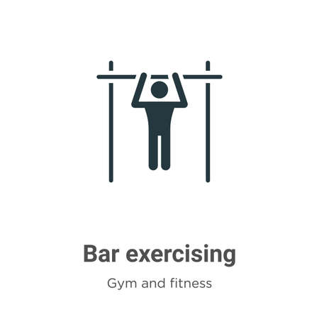 Bar exercising glyph icon vector on white background. Flat vector bar exercising icon symbol sign from modern gym and fitness collection for mobile concept and web apps design.
