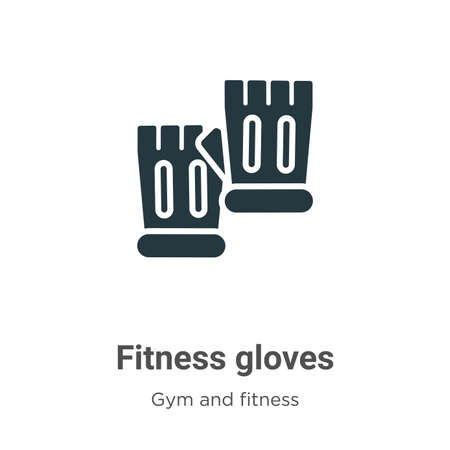 Fitness gloves glyph icon vector on white background. Flat vector fitness gloves icon symbol sign from modern gym and fitness collection for mobile concept and web apps design.