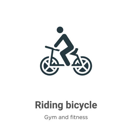 Riding bicycle glyph icon vector on white background. Flat vector riding bicycle icon symbol sign from modern gym and fitness collection for mobile concept and web apps design.
