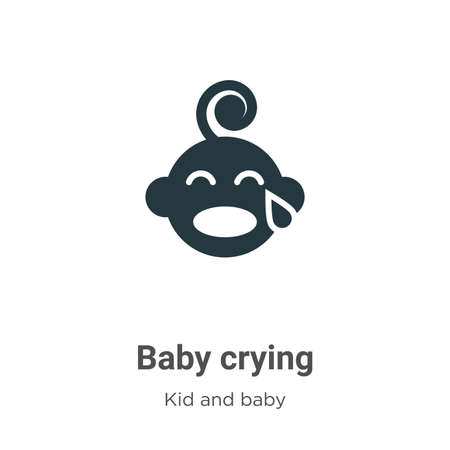 Baby crying glyph icon vector on white background. Flat vector baby crying icon symbol sign from modern kid and baby collection for mobile concept and web apps design.
