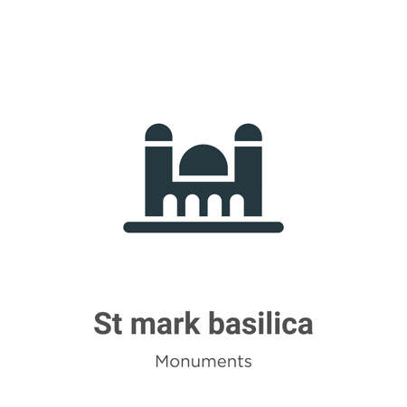 St mark basilica glyph icon vector on white background. Flat vector st mark basilica icon symbol sign from modern monuments collection for mobile concept and web apps design.