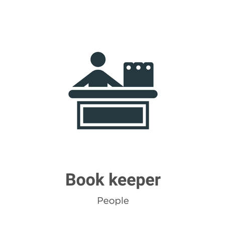Book keeper glyph icon vector on white background. Flat vector book keeper icon symbol sign from modern people collection for mobile concept and web apps design.