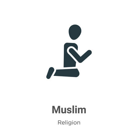 Muslim glyph icon vector on white background. Flat vector muslim icon symbol sign from modern religion collection for mobile concept and web apps design.