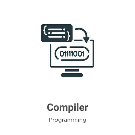 Compiler glyph icon vector on white background. Flat vector compiler icon symbol sign from modern programming collection for mobile concept and web apps design.